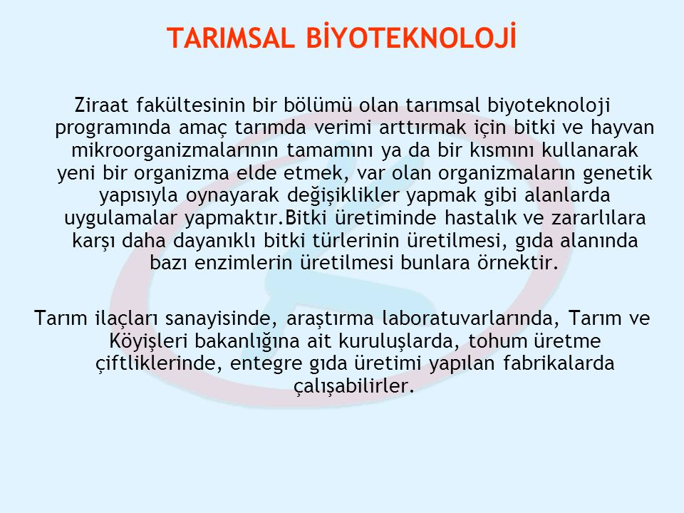 TARIMSAL BİYOTEKNOLOJİ