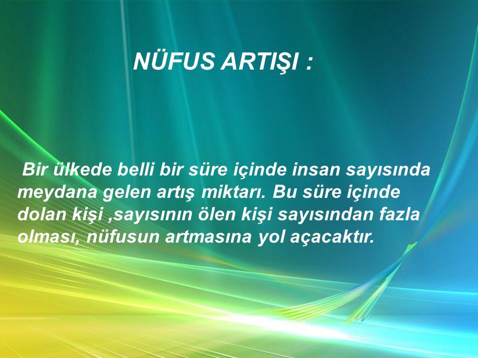 NÜFUS ARTIŞI :