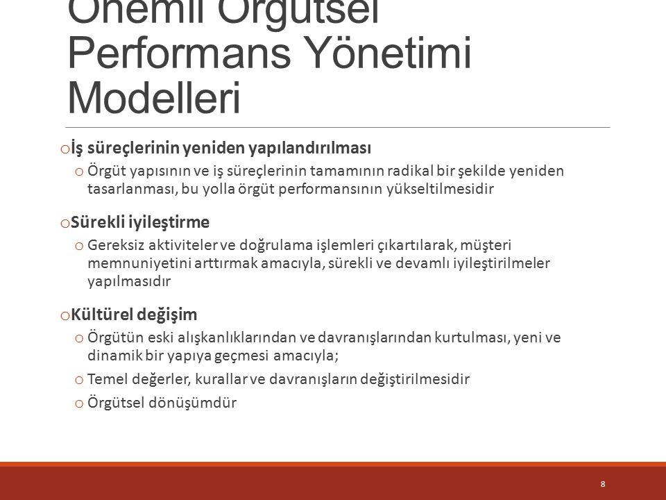 Önemli Örgütsel Performans Yönetimi Modelleri