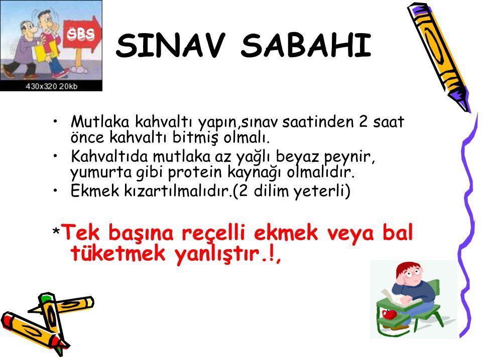 SINAV SABAHI SBS. Mutlaka kahvaltı yapın,sınav saatinden 2 saat önce kahvaltı bitmiş olmalı.