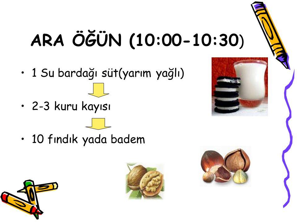 ARA ÖĞÜN (10:00-10:30) 1 Su bardağı süt(yarım yağlı) 2-3 kuru kayısı