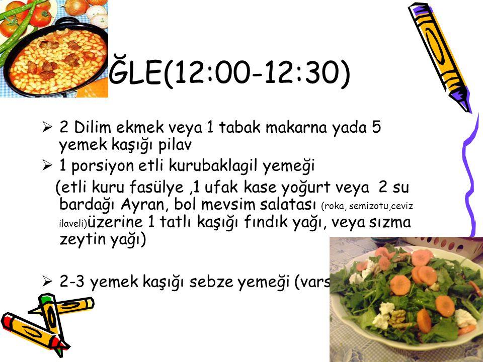 ÖĞLE(12:00-12:30) 2 Dilim ekmek veya 1 tabak makarna yada 5 yemek kaşığı pilav. 1 porsiyon etli kurubaklagil yemeği.