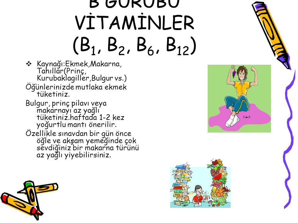 B GURUBU VİTAMİNLER (B1, B2, B6, B12)