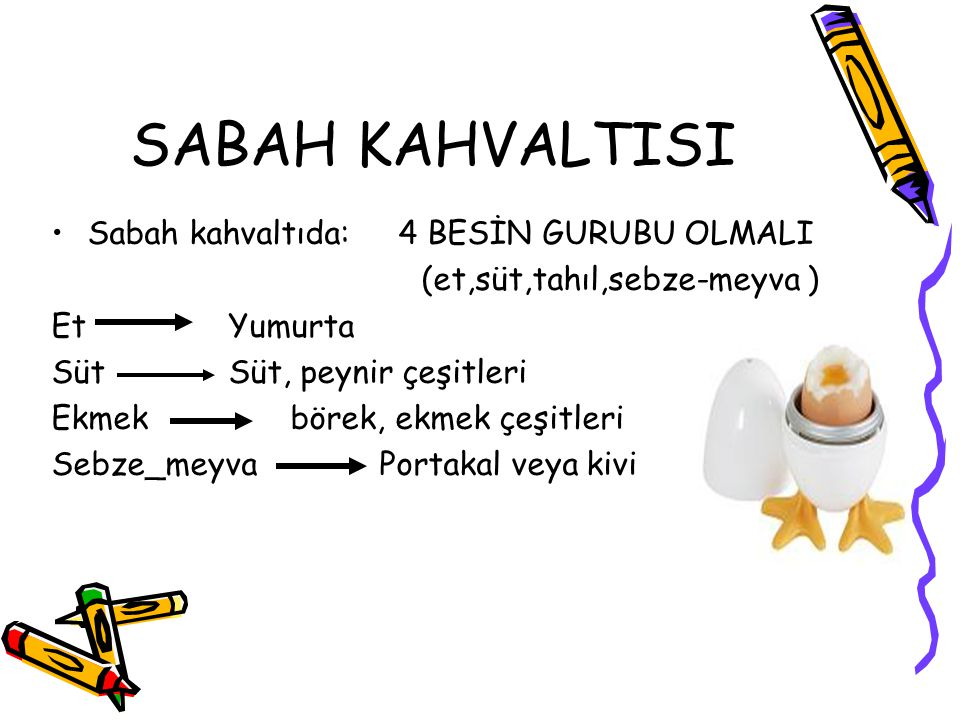 SABAH KAHVALTISI Sabah kahvaltıda: 4 BESİN GURUBU OLMALI