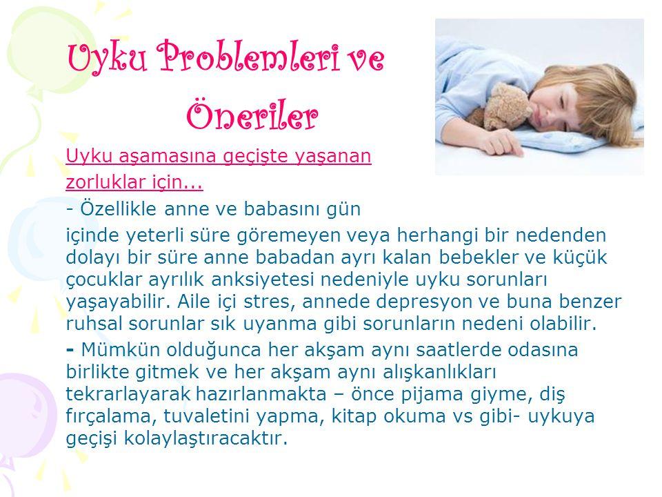 Uyku Problemleri ve Öneriler Uyku aşamasına geçişte yaşanan