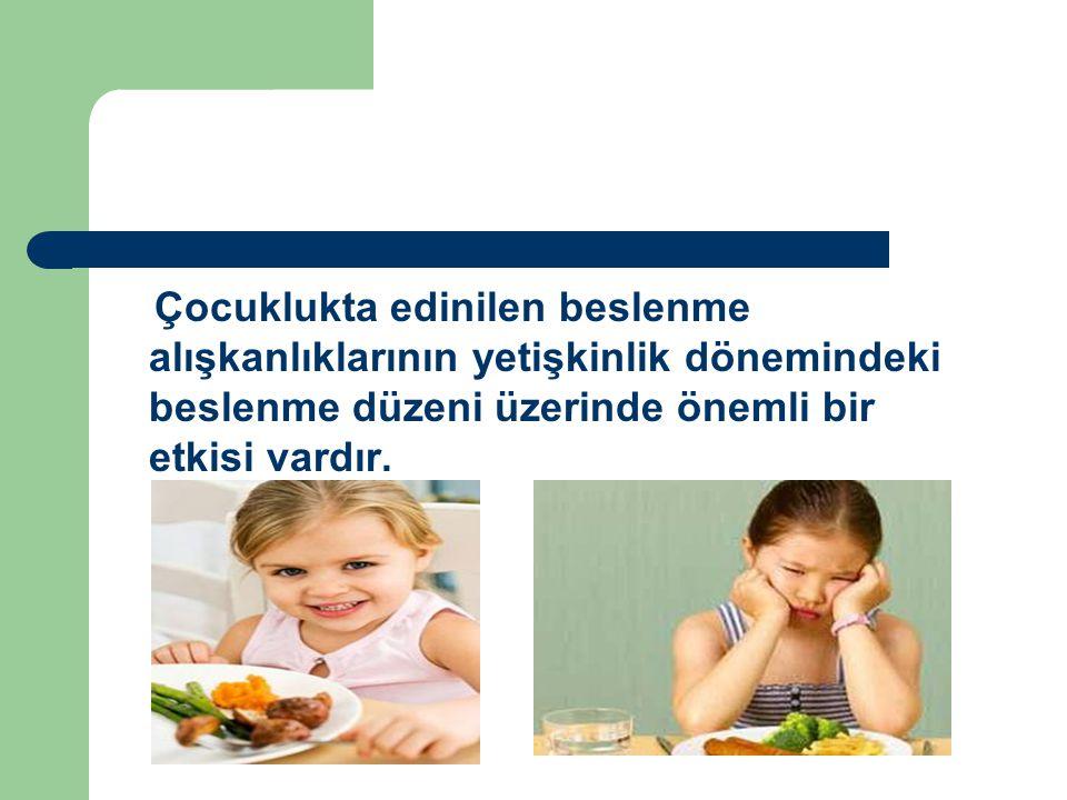 Çocuklukta edinilen beslenme alışkanlıklarının yetişkinlik dönemindeki beslenme düzeni üzerinde önemli bir etkisi vardır.