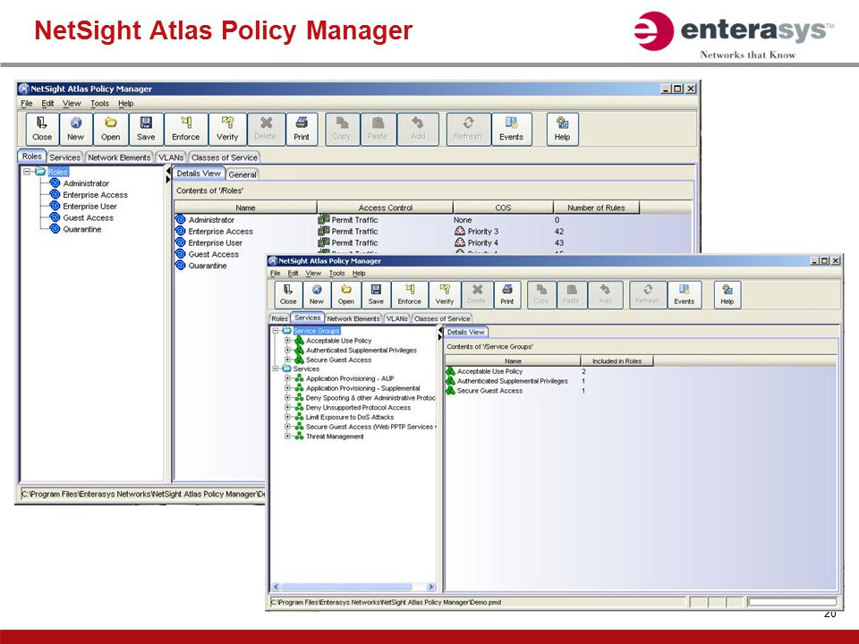 NetSight Atlas Policy Manager