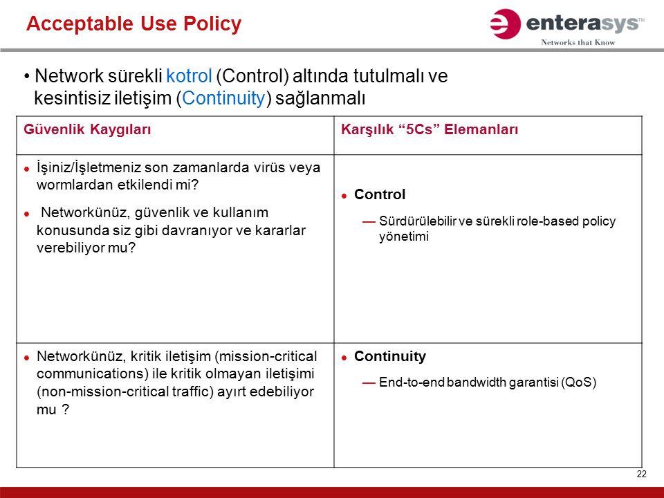 Acceptable Use Policy Network sürekli kotrol (Control) altında tutulmalı ve. kesintisiz iletişim (Continuity) sağlanmalı.