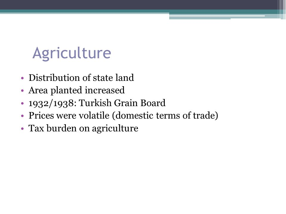 Agriculture Distribution of state land Area planted increased