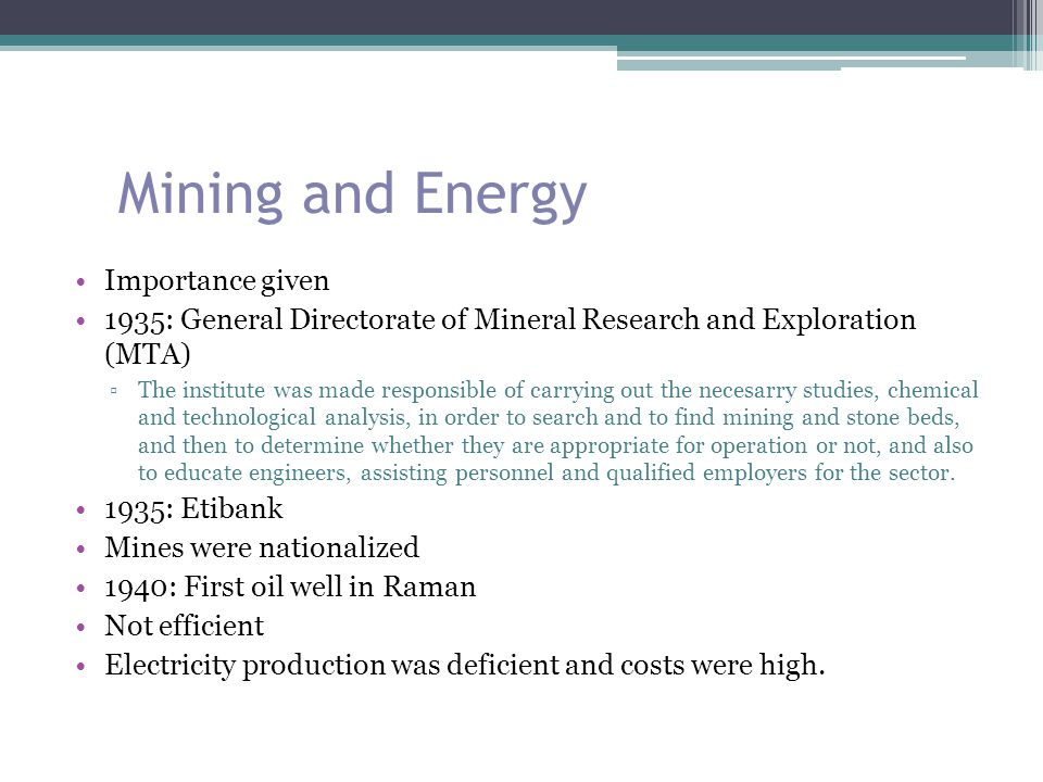 Mining and Energy Importance given