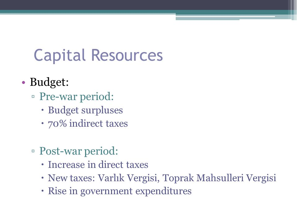 Capital Resources Budget: Pre-war period: Post-war period:
