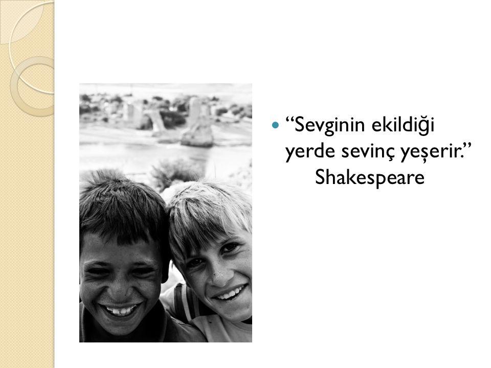 Sevginin ekildiği yerde sevinç yeşerir. Shakespeare