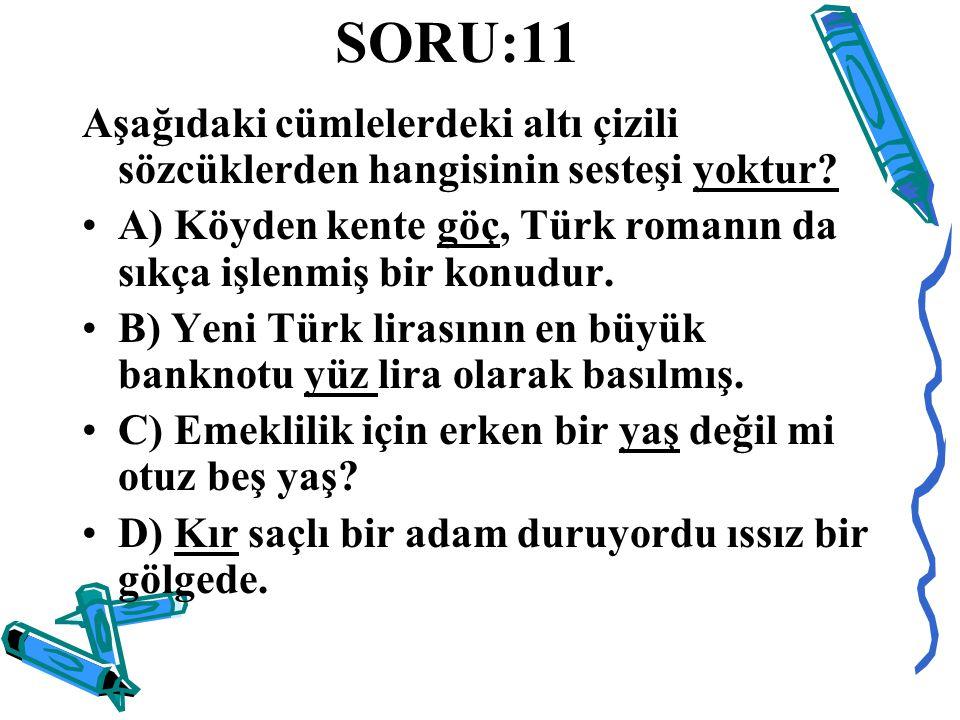 SORU:11 Aşağıdaki cümlelerdeki altı çizili sözcüklerden hangisinin sesteşi yoktur A) Köyden kente göç, Türk romanın da sıkça işlenmiş bir konudur.
