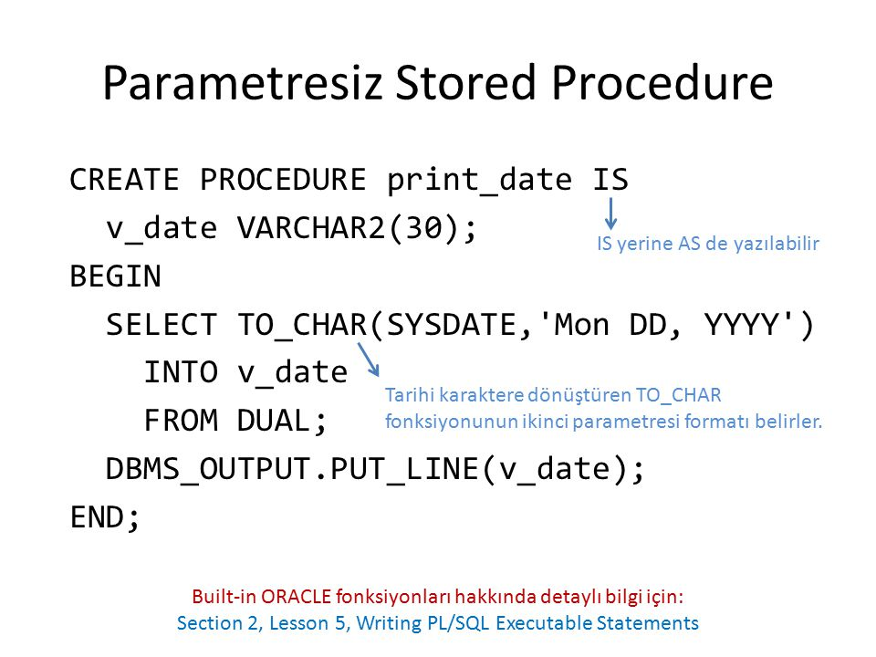 Parametresiz Stored Procedure