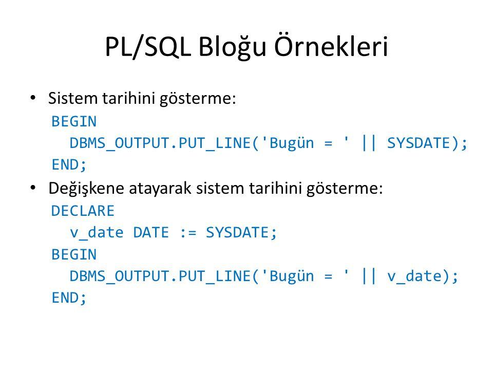 PL/SQL Bloğu Örnekleri