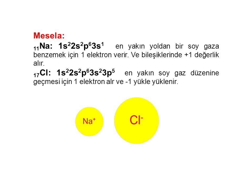 Mesela: 11Na: 1s22s2p63s1 en yakın yoldan bir soy gaza benzemek için 1 elektron verir. Ve bileşiklerinde +1 değerlik alır.