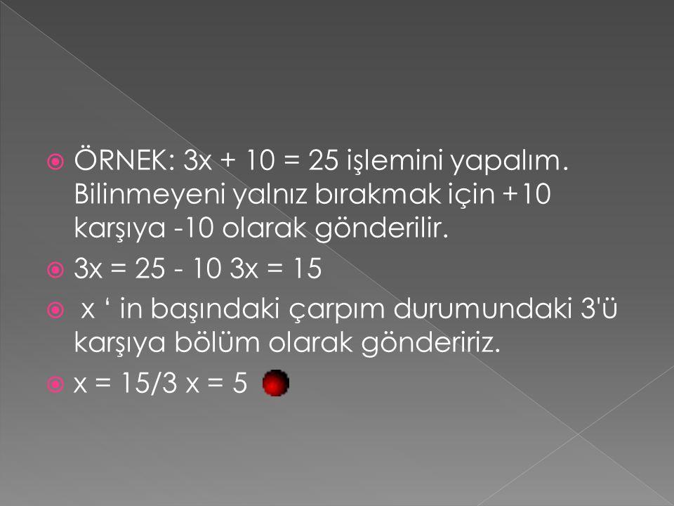 ÖRNEK: 3x + 10 = 25 işlemini yapalım