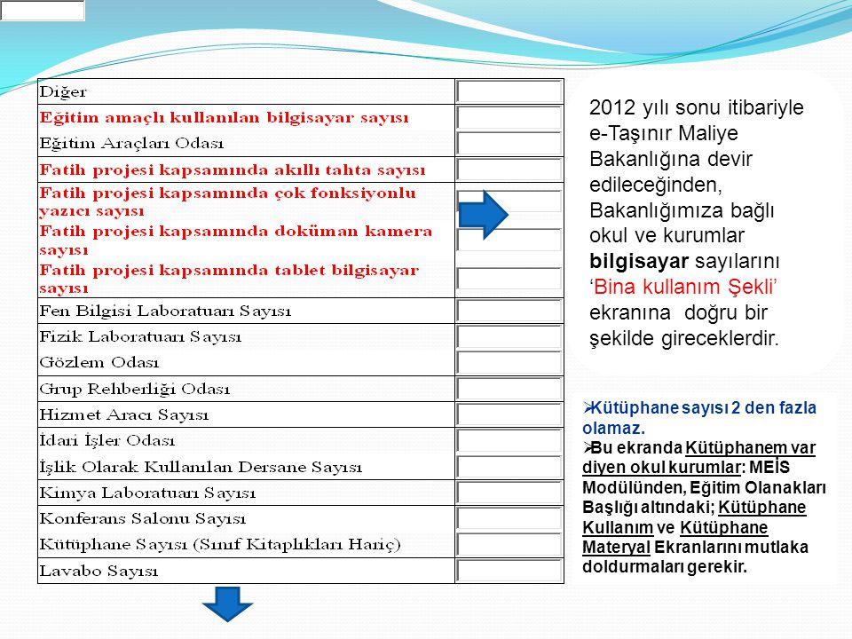 2012 yılı sonu itibariyle e-Taşınır Maliye Bakanlığına devir edileceğinden, Bakanlığımıza bağlı okul ve kurumlar bilgisayar sayılarını 'Bina kullanım Şekli' ekranına doğru bir şekilde gireceklerdir.
