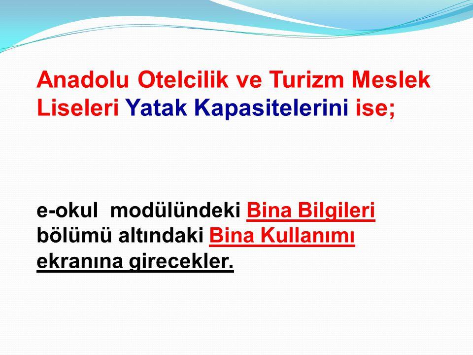 Anadolu Otelcilik ve Turizm Meslek Liseleri Yatak Kapasitelerini ise;