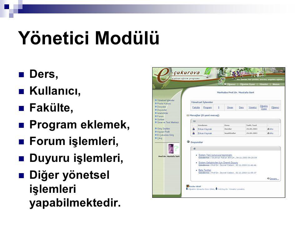 Yönetici Modülü Ders, Kullanıcı, Fakülte, Program eklemek,