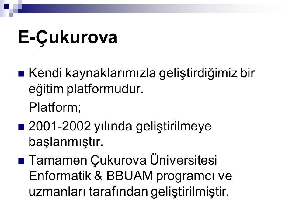 E-Çukurova Kendi kaynaklarımızla geliştirdiğimiz bir eğitim platformudur. Platform; 2001-2002 yılında geliştirilmeye başlanmıştır.