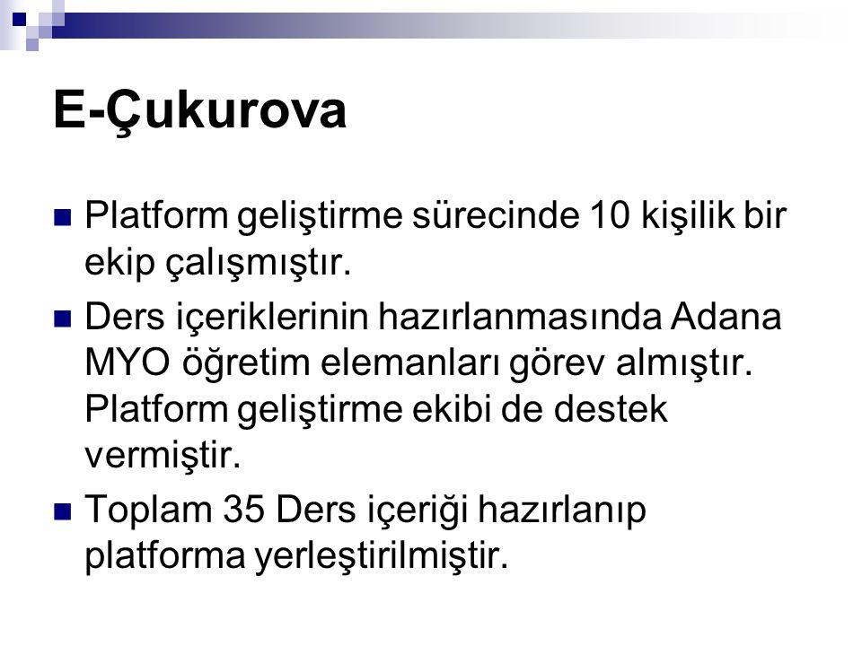 E-Çukurova Platform geliştirme sürecinde 10 kişilik bir ekip çalışmıştır.