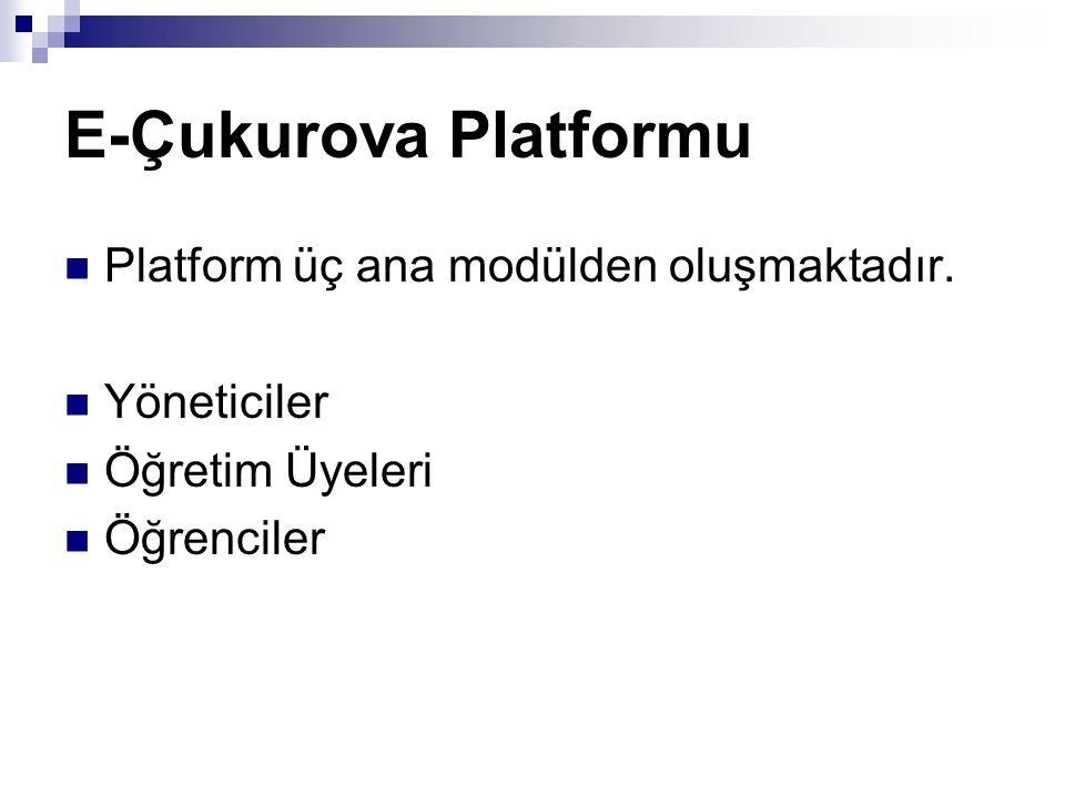 E-Çukurova Platformu Platform üç ana modülden oluşmaktadır.