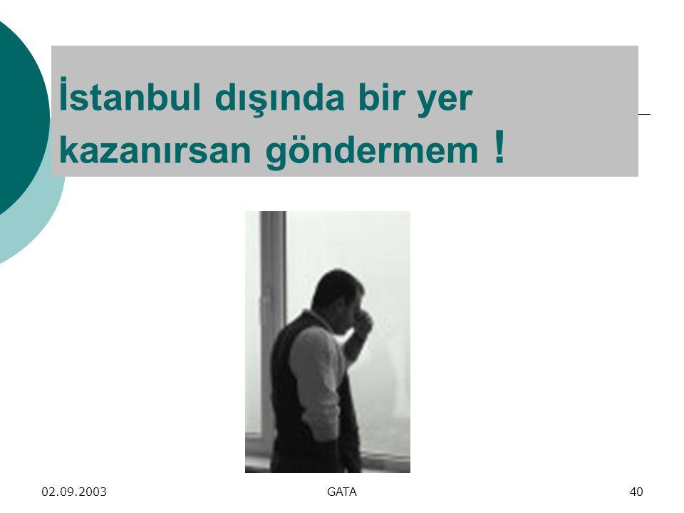 İstanbul dışında bir yer kazanırsan göndermem !