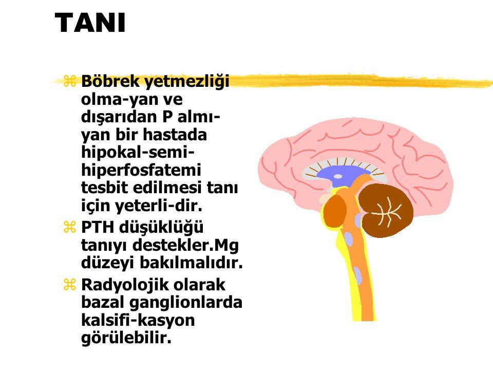 TANI Böbrek yetmezliği olma-yan ve dışarıdan P almı-yan bir hastada hipokal-semi-hiperfosfatemi tesbit edilmesi tanı için yeterli-dir.