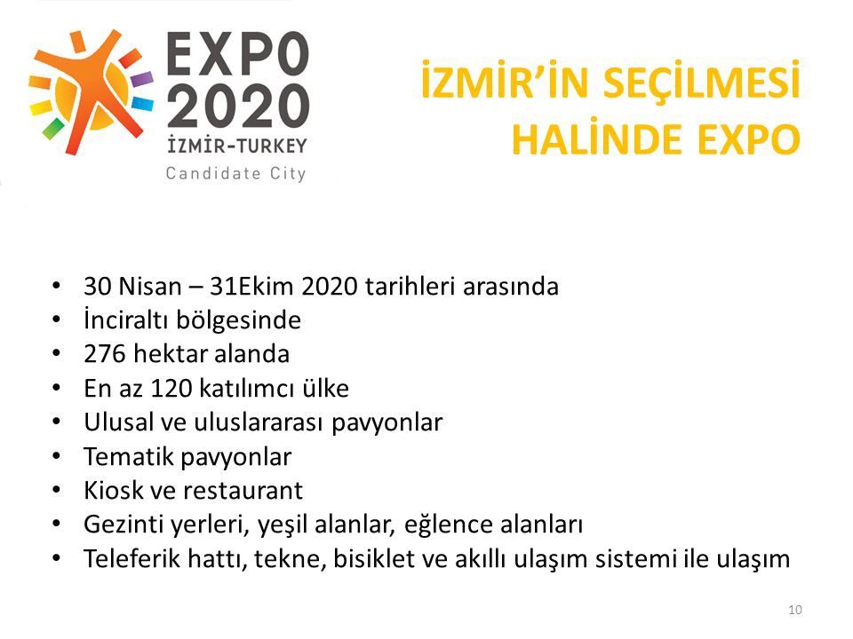 İZMİR'İN SEÇİLMESİ HALİNDE EXPO