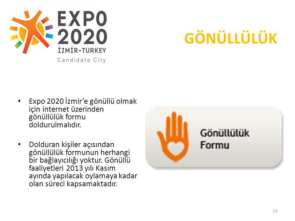 19.05.2013 GÖNÜLLÜLÜK. Expo 2020 İzmir'e gönüllü olmak için internet üzerinden gönüllülük formu doldurulmalıdır.
