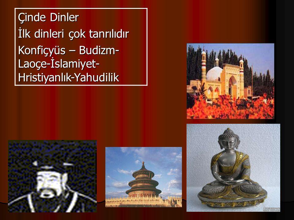 Çinde Dinler İlk dinleri çok tanrılıdır Konfiçyüs – Budizm-Laoçe-İslamiyet-Hristiyanlık-Yahudilik