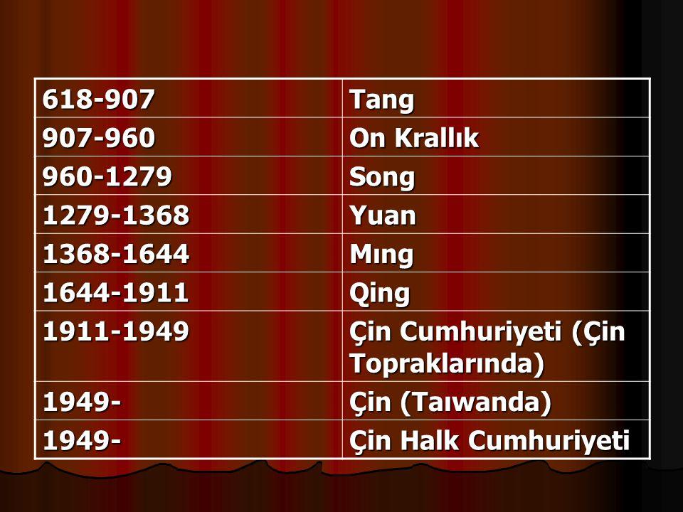 618-907 Tang. 907-960. On Krallık. 960-1279. Song. 1279-1368. Yuan. 1368-1644. Mıng. 1644-1911.