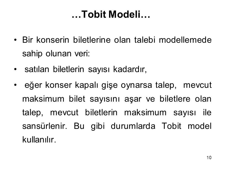 …Tobit Modeli… Bir konserin biletlerine olan talebi modellemede sahip olunan veri: satılan biletlerin sayısı kadardır,