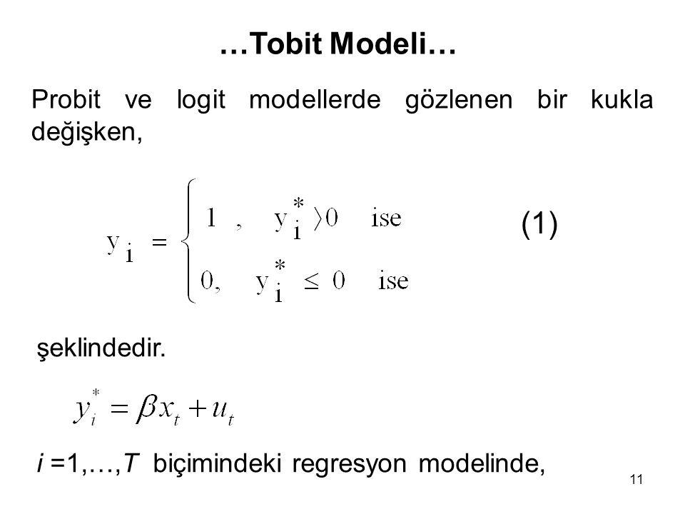 …Tobit Modeli… Probit ve logit modellerde gözlenen bir kukla değişken, (1) şeklindedir.
