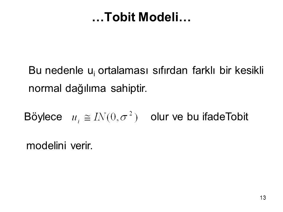 …Tobit Modeli… Bu nedenle ui ortalaması sıfırdan farklı bir kesikli normal dağılıma sahiptir. Böylece.