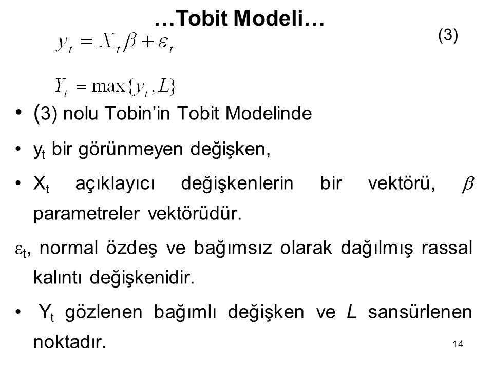 (3) nolu Tobin'in Tobit Modelinde