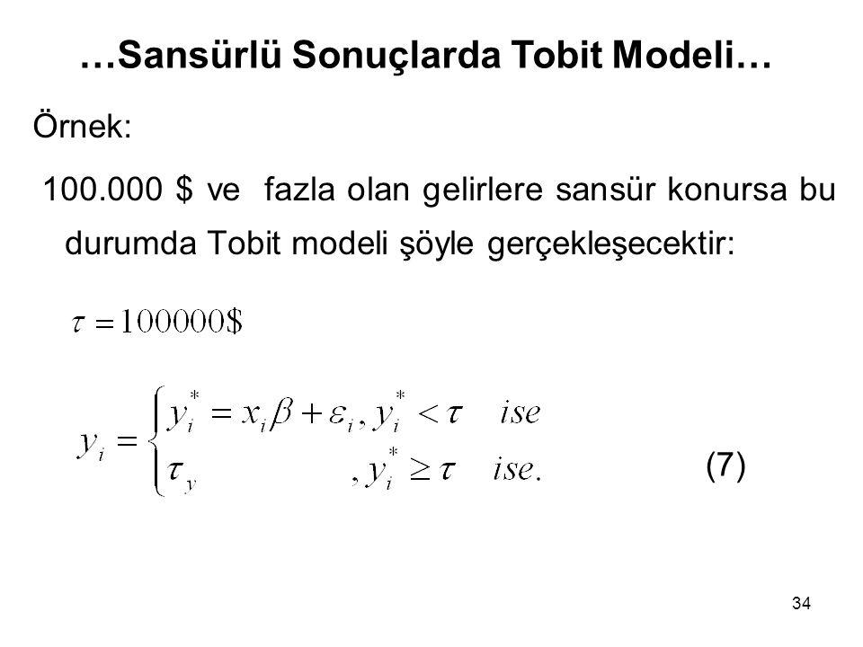 …Sansürlü Sonuçlarda Tobit Modeli…