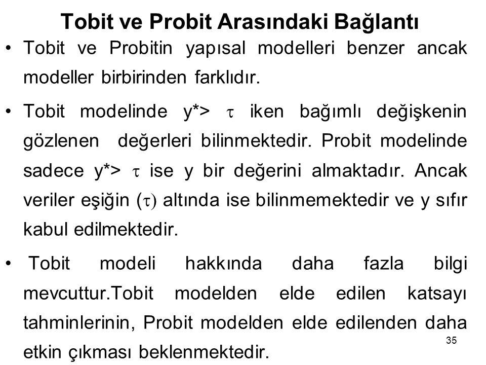 Tobit ve Probit Arasındaki Bağlantı