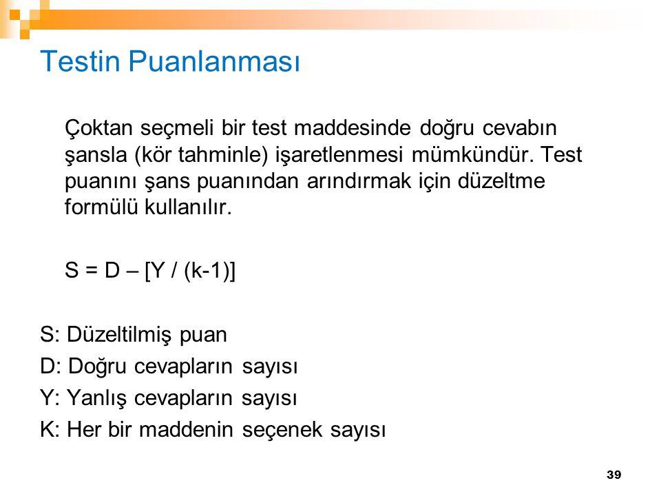 Testin Puanlanması