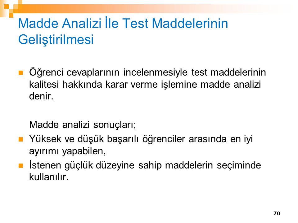 Madde Analizi İle Test Maddelerinin Geliştirilmesi