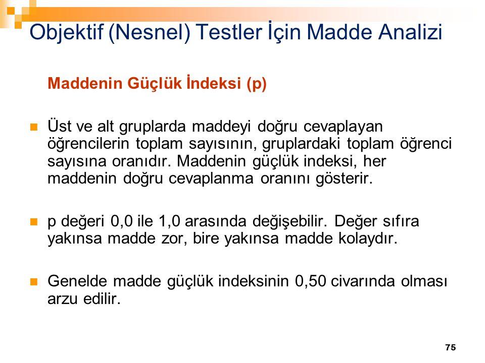 Objektif (Nesnel) Testler İçin Madde Analizi