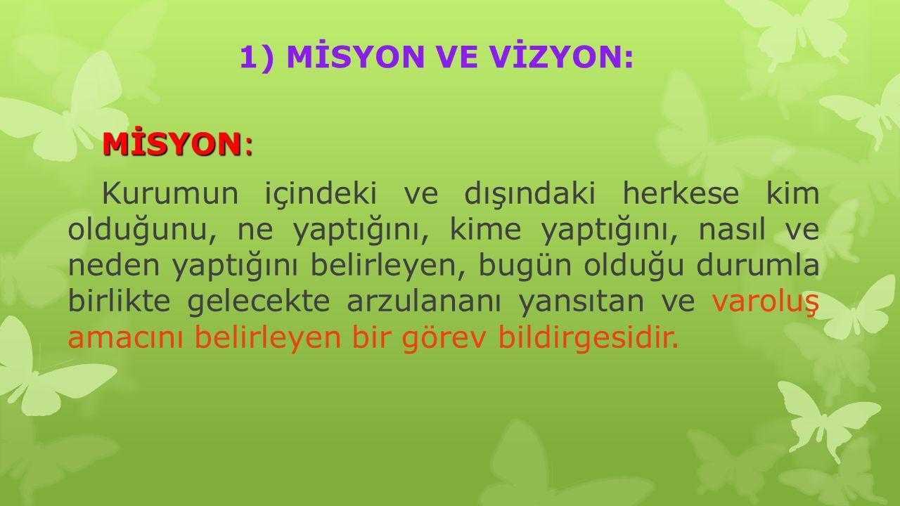 1) MİSYON VE VİZYON:
