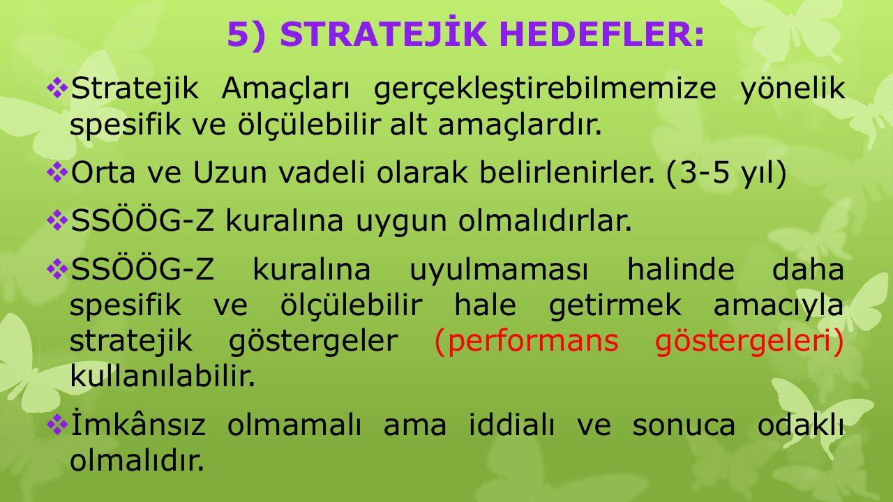 5) STRATEJİK HEDEFLER: Stratejik Amaçları gerçekleştirebilmemize yönelik spesifik ve ölçülebilir alt amaçlardır.