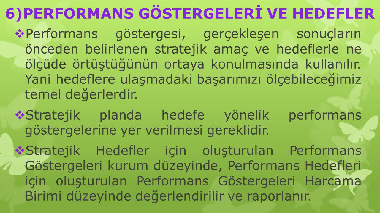 6)PERFORMANS GÖSTERGELERİ VE HEDEFLER