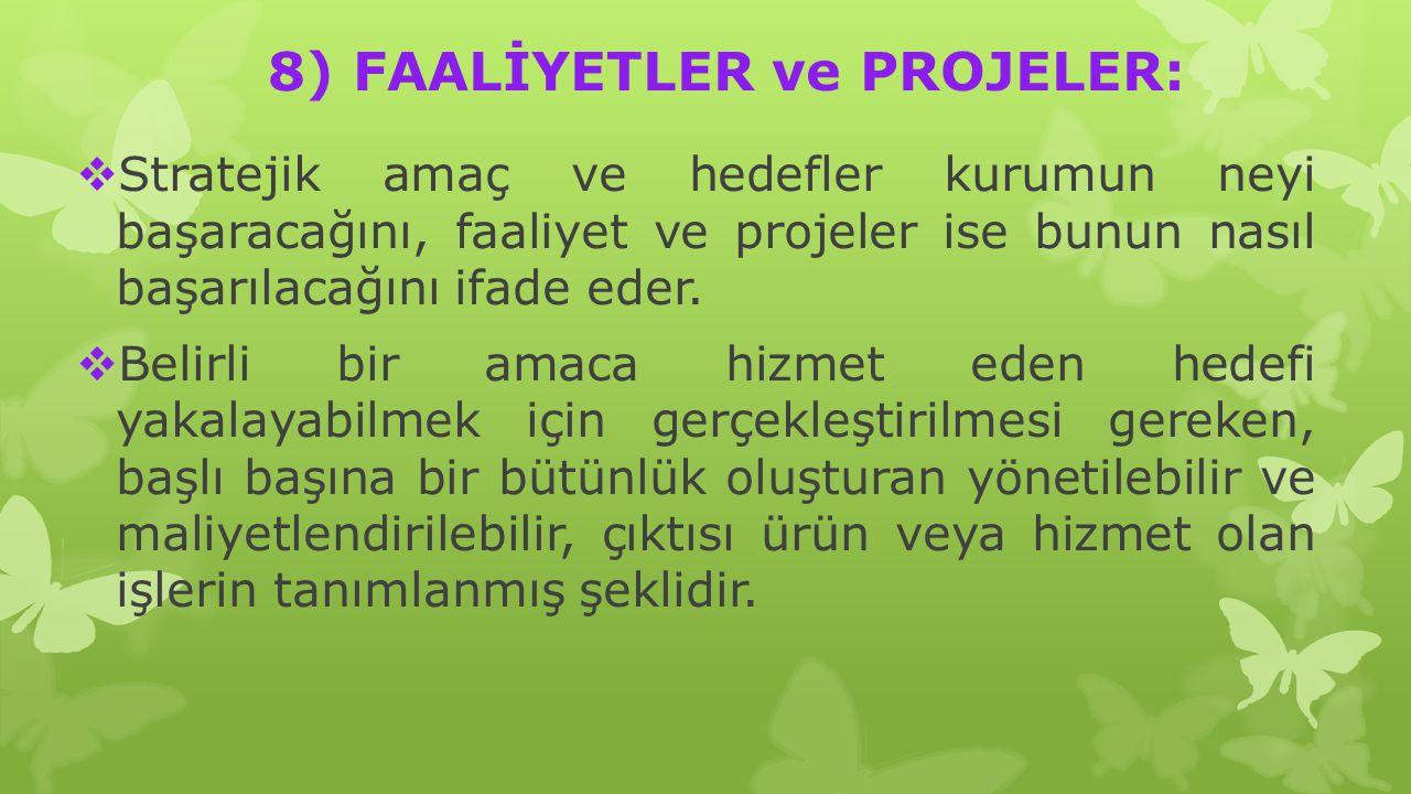 8) FAALİYETLER ve PROJELER: