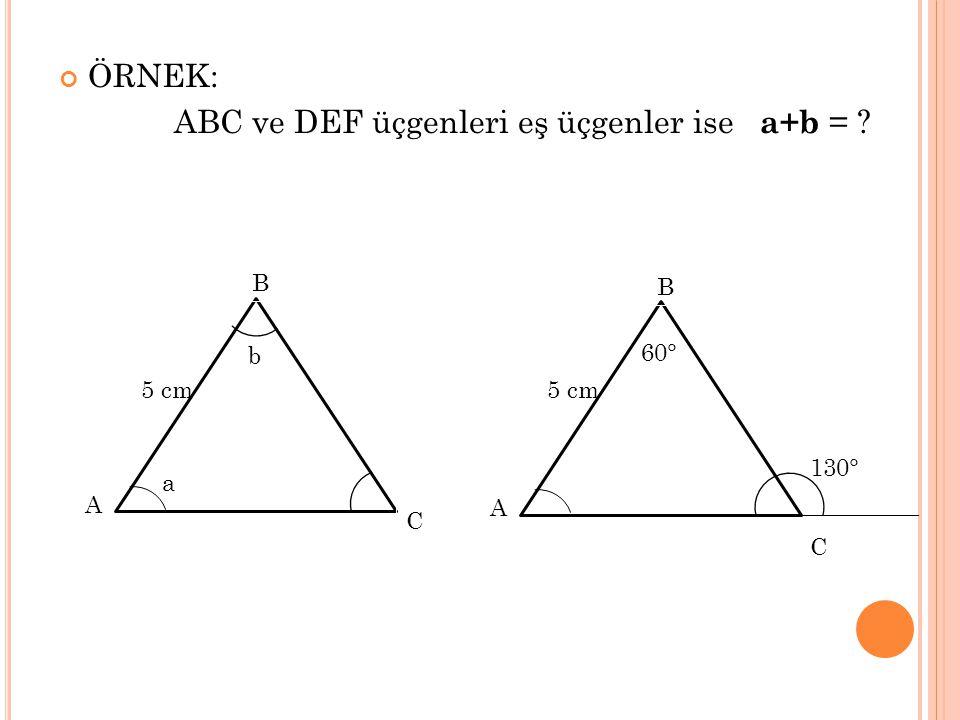 ABC ve DEF üçgenleri eş üçgenler ise a+b =
