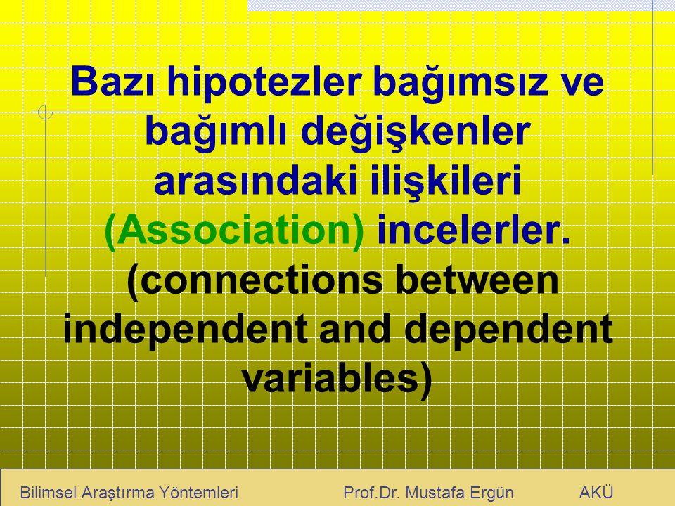 Bazı hipotezler bağımsız ve bağımlı değişkenler arasındaki ilişkileri (Association) incelerler. (connections between independent and dependent variables)