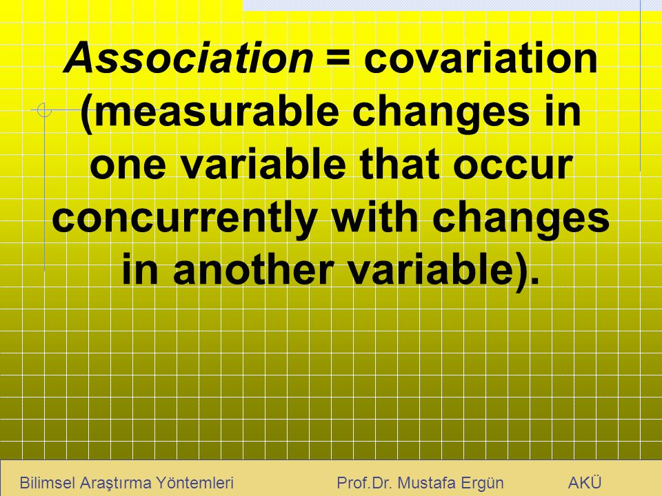 Association = covariation (measurable changes in one variable that occur concurrently with changes in another variable).