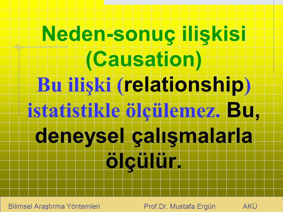 Neden-sonuç ilişkisi (Causation) Bu ilişki (relationship) istatistikle ölçülemez. Bu, deneysel çalışmalarla ölçülür.